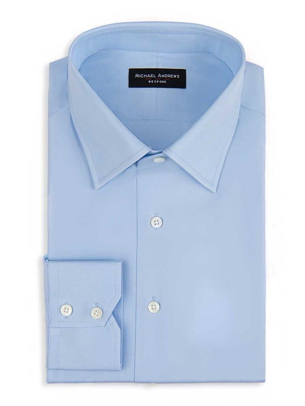 Michael Andrews Bespoke Ice Blue Poplin Shirt