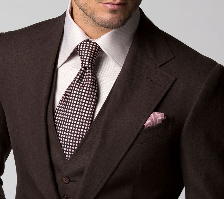 Michael Andrews Bespoke Custom Chocolate Linen Suit