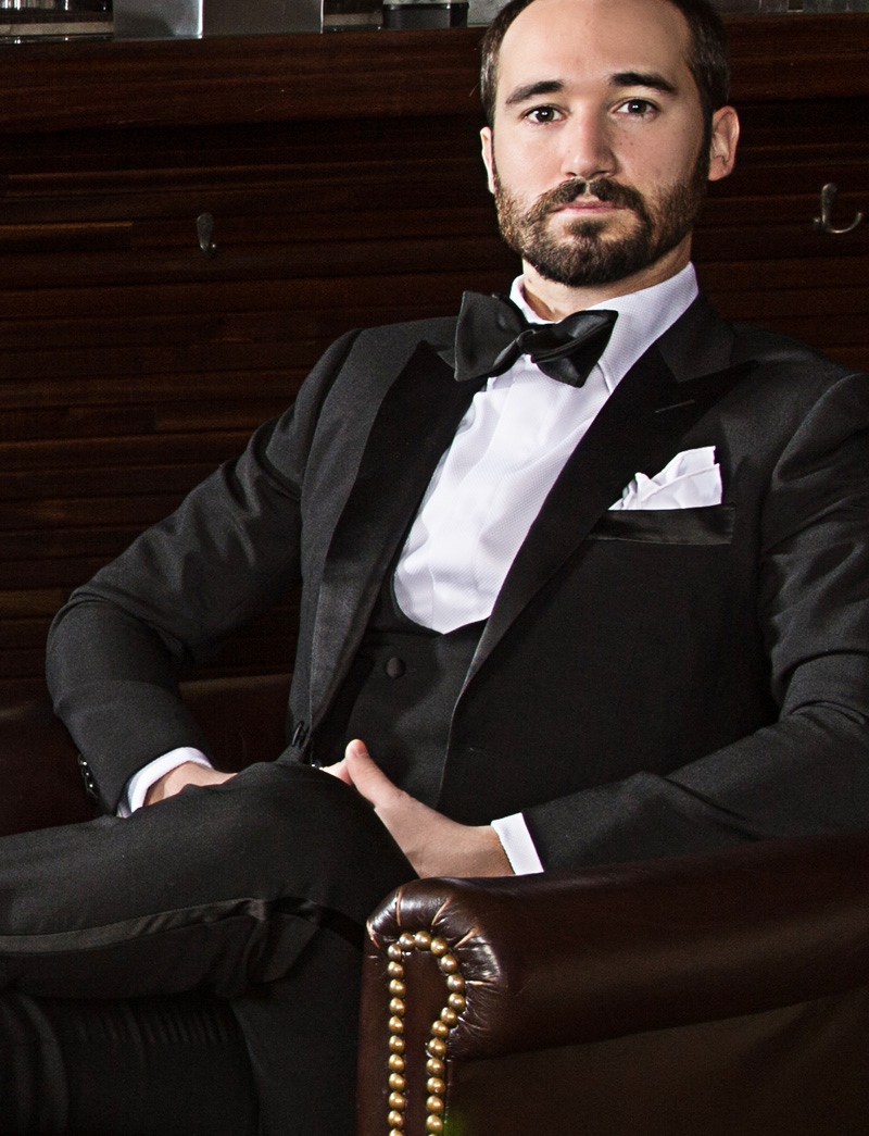 Michael Andrews Bespoke Custom Black Tuxedo with Double Breasted Vest