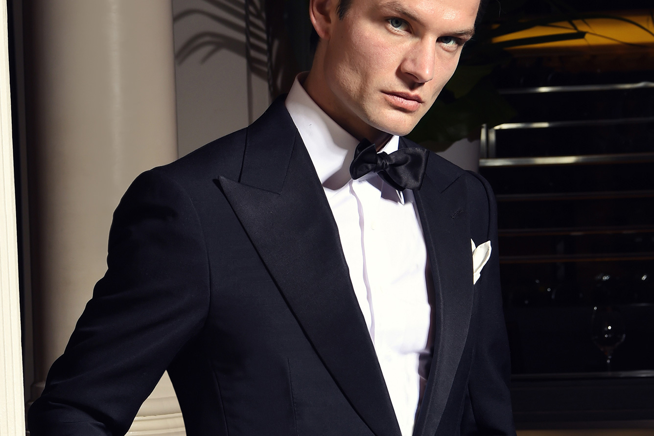 Michael Andrews Bespoke Classic Peak Lapel Black Tuxedo