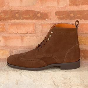 Dark Brown Suede Brogue Boot