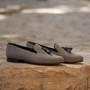 Grey Wellington Tassel Slipper
