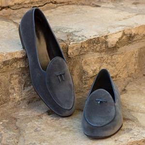 Dark Grey Velvet Belgian Slipper