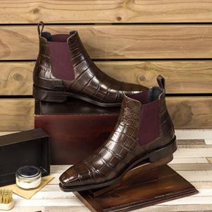 Chocolate Alligator Chelsea Boot