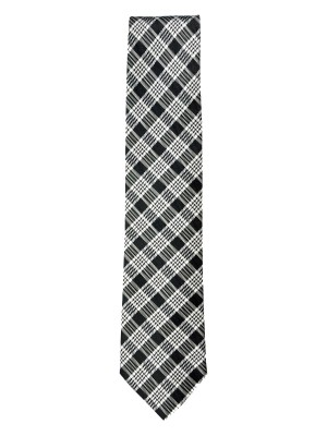 Black Graphic Plaid Silk/Wool Tie
