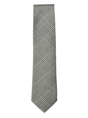 Black & Cream Textured Glen Plaid Silk Tie