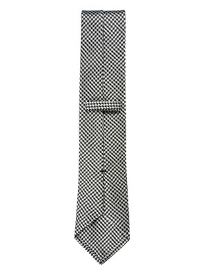 Black & Cream Houndstooth Silk Tie