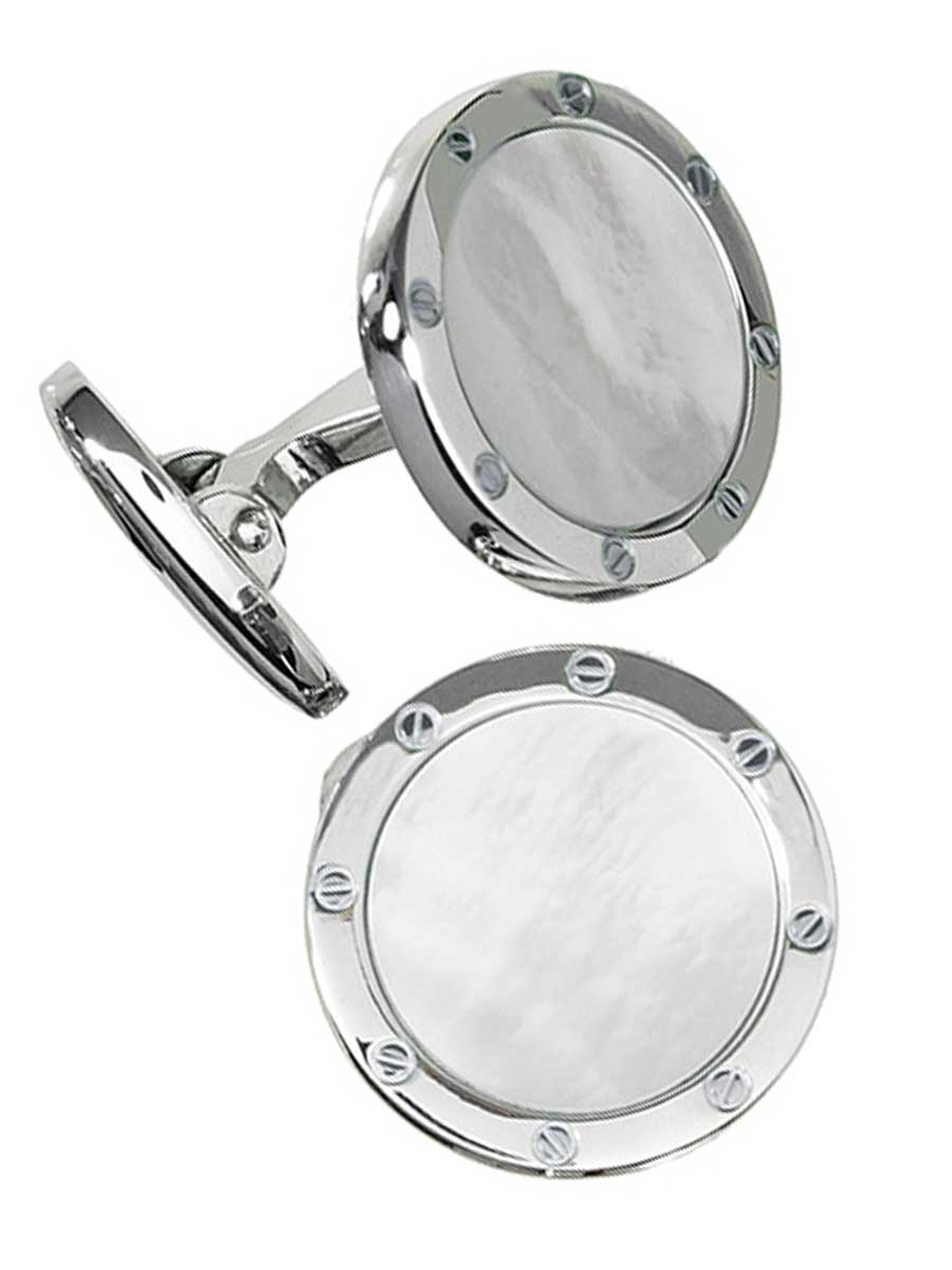 ROUND MOTHER OF PEARL RIVET DESIGN CUFFLINKS