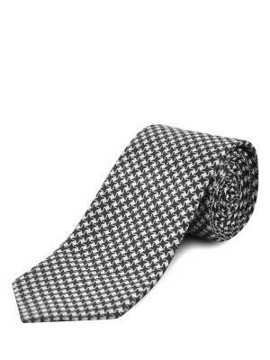 Black Textured Houndstooth Silk Tie