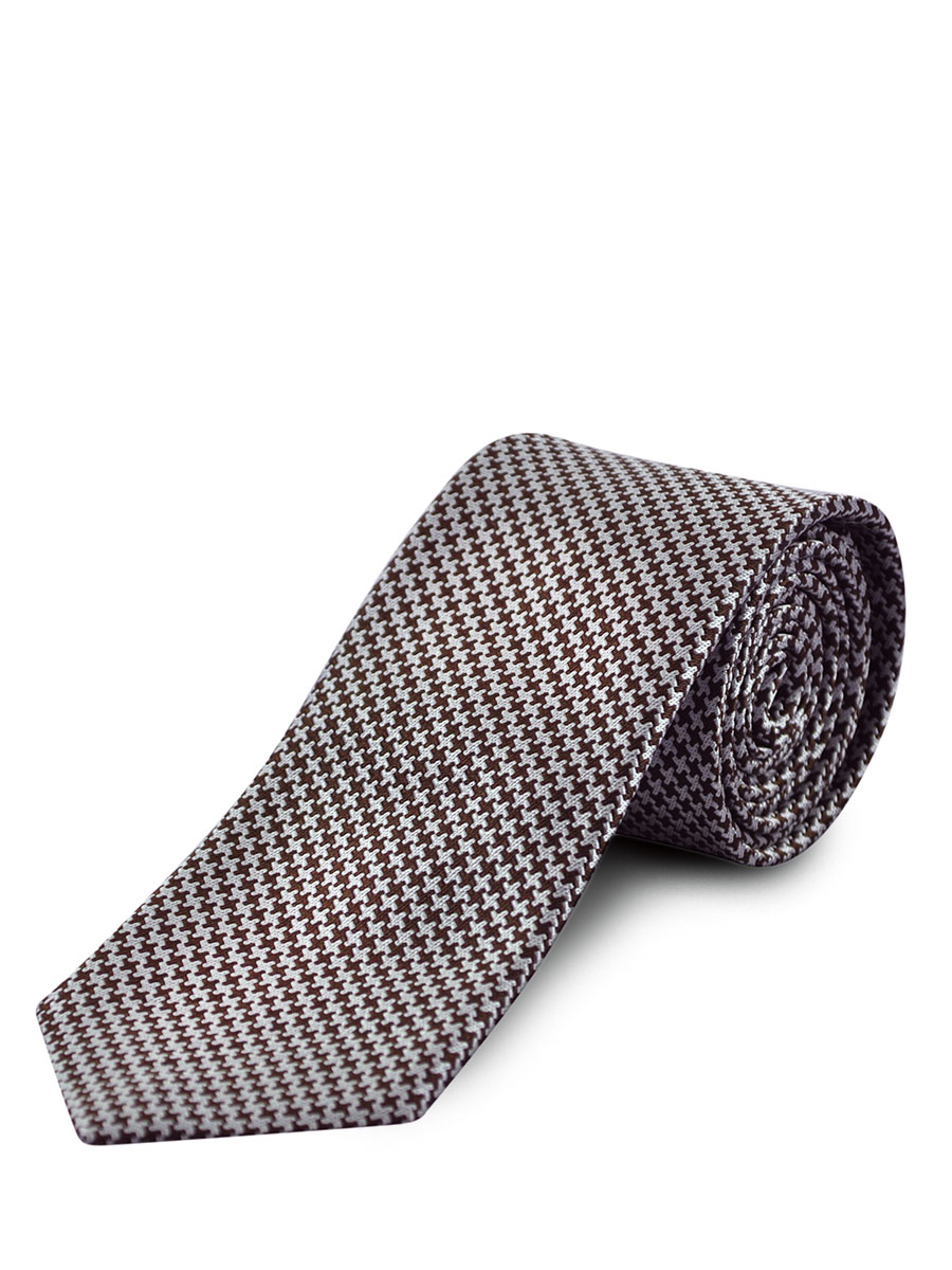 BROWN & GREIGE HOUNDSTOOTH SILK TIE