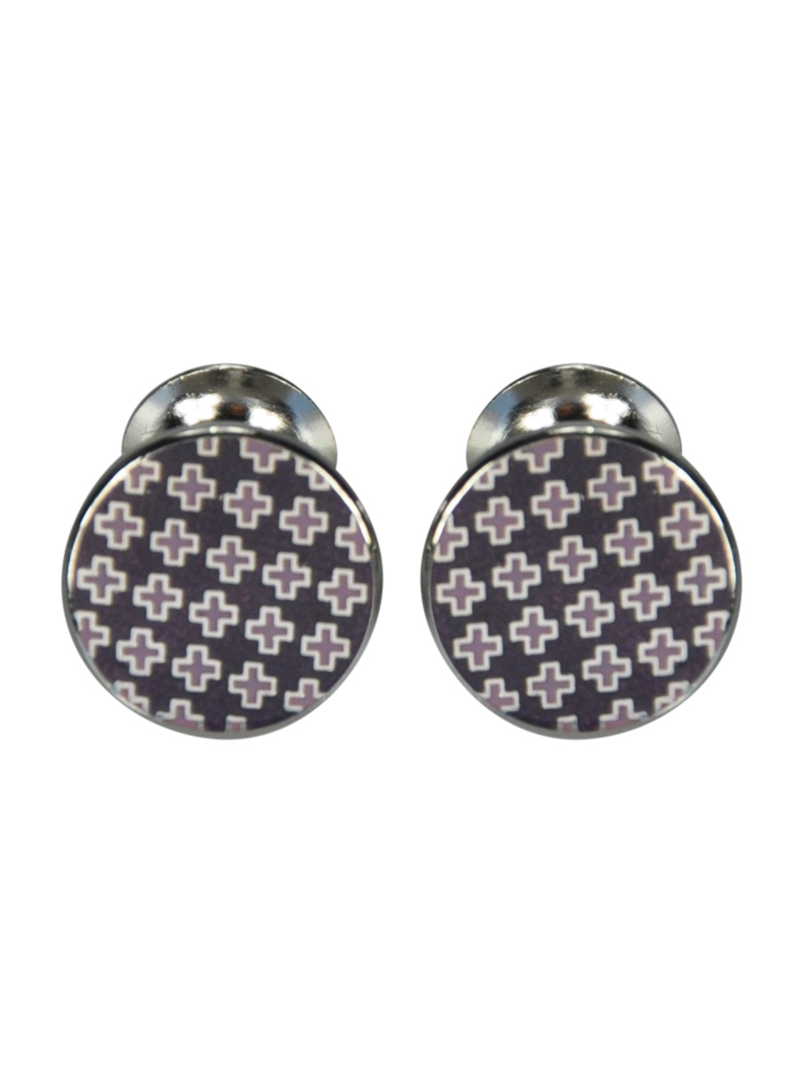 ROUND LILAC ENAMEL CUFFLINKS WITH CROSS DESIGN