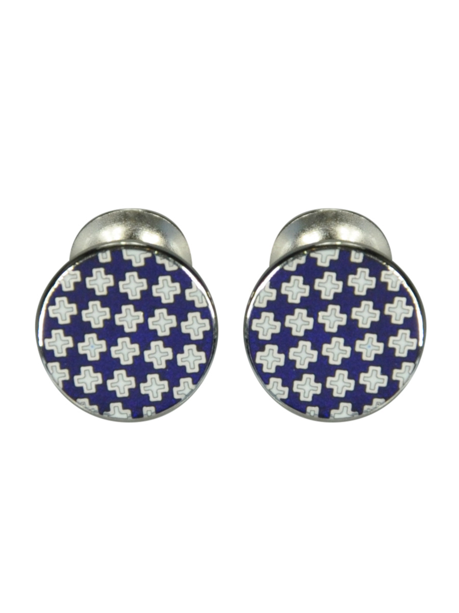 Round Blue Enamel Cufflinks With Cross Design