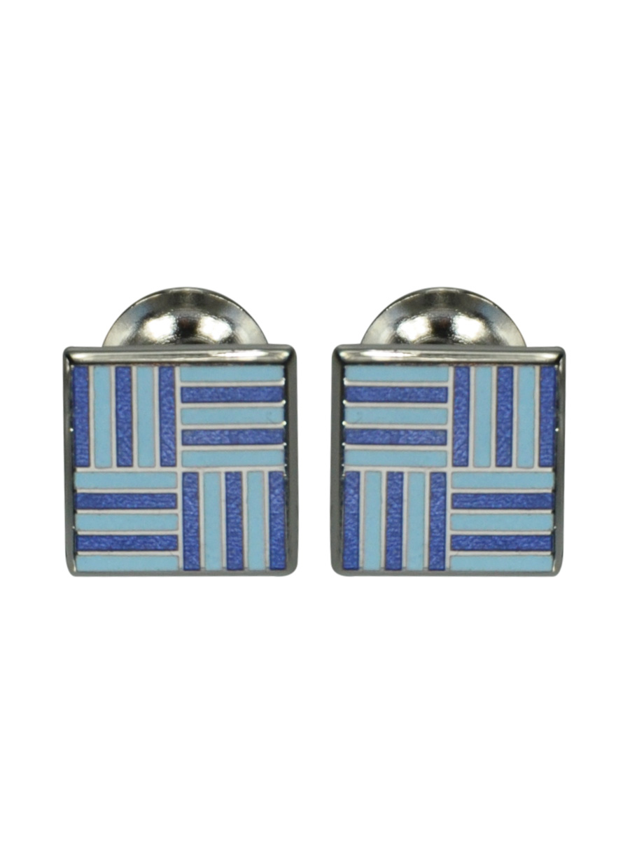 ROYAL BLUE AND SKY BLUE GEOMETRIC GRID ENAMEL CUFFLINKS
