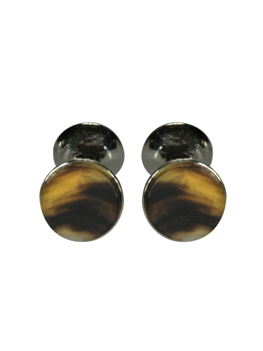 ROUND RHODIUM CUFFLINKS WITH INLAID BUFFALO HORN FACE