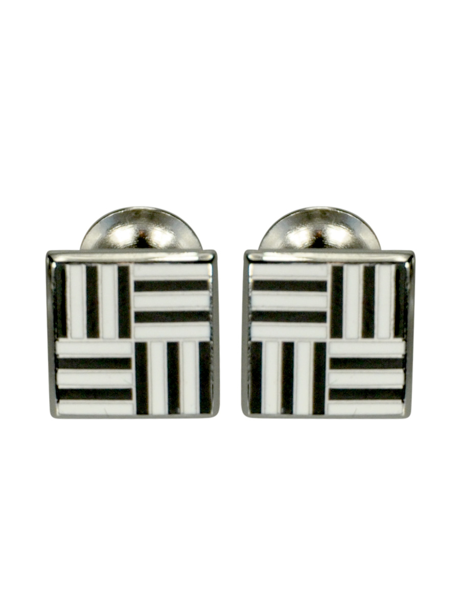 Black and White Geometric Grid Enamel Cufflinks