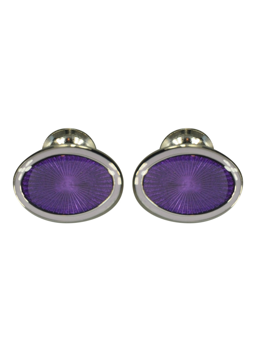 LILAC AND PURPLE DOUBLE OVAL ENAMEL CUFFLINKS