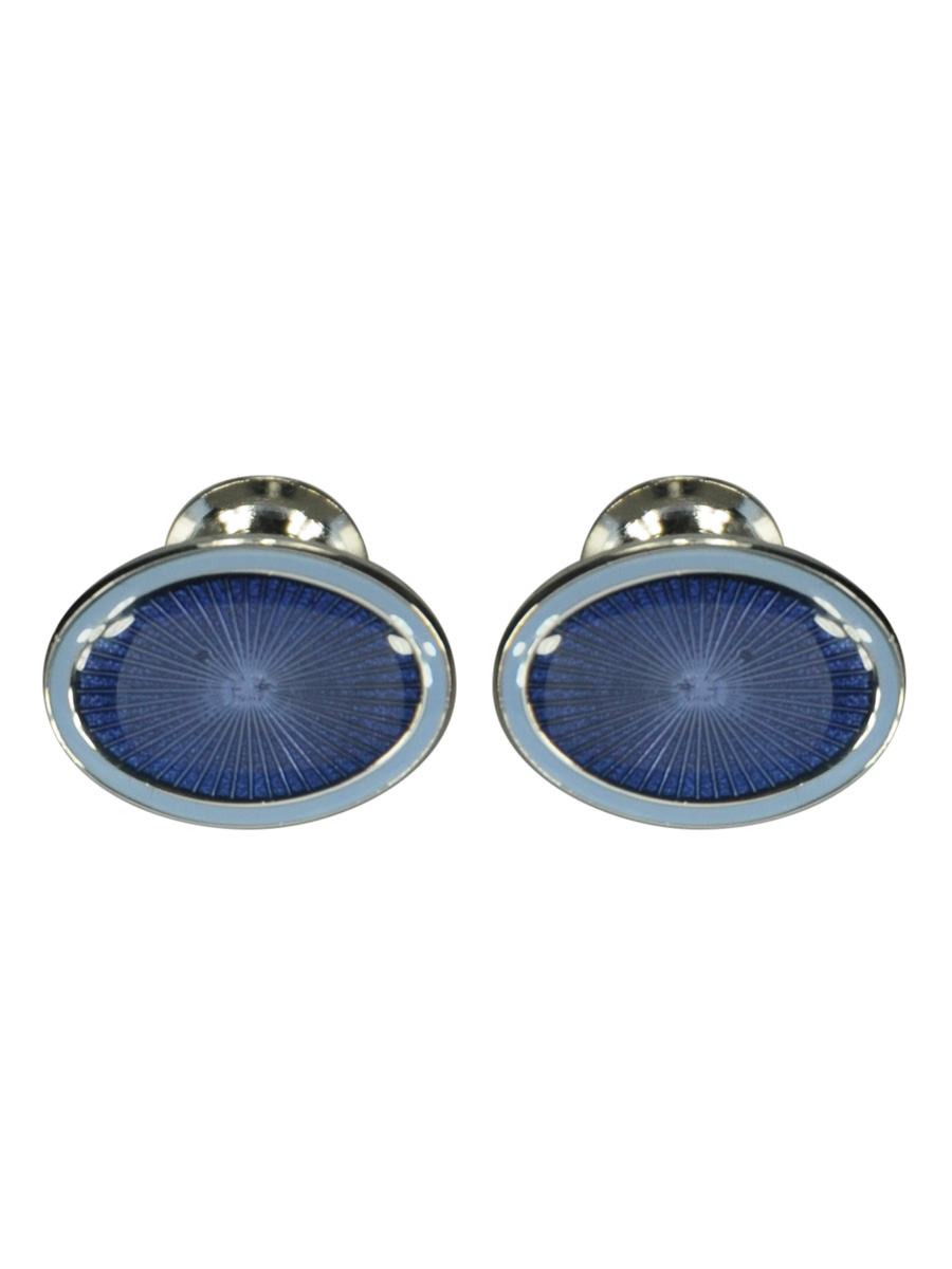 BLUE DOUBLE OVAL ENAMEL CUFFLINKS