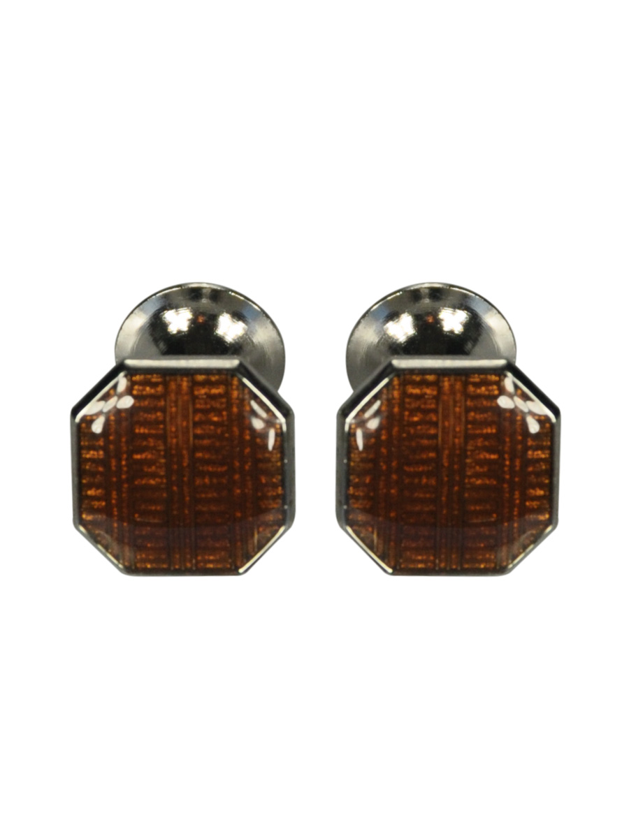 Brown Octagon Enamel Cufflinks