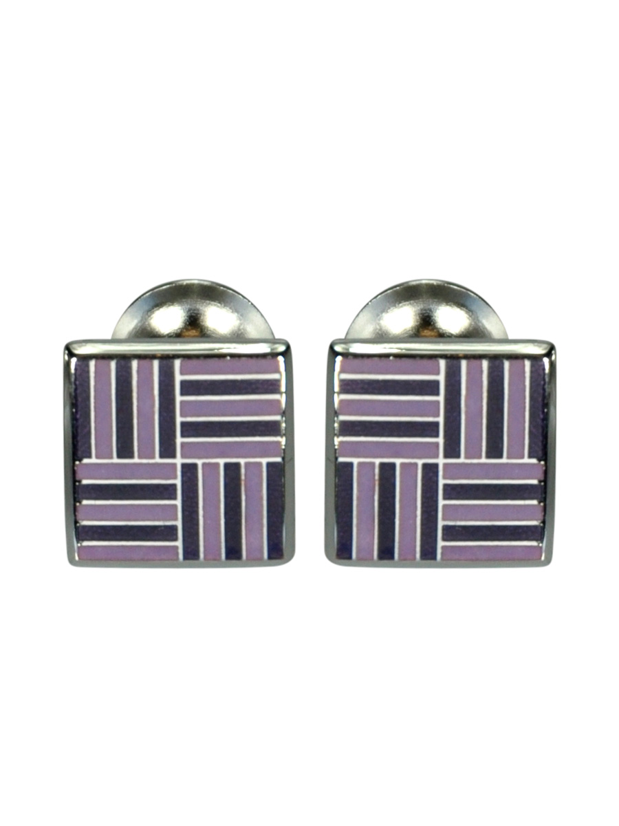 Purple and Lilac Geometric Grid Enamel Cufflinks