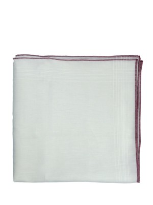 Linen Pocket Square w/ Bordeaux Tipping