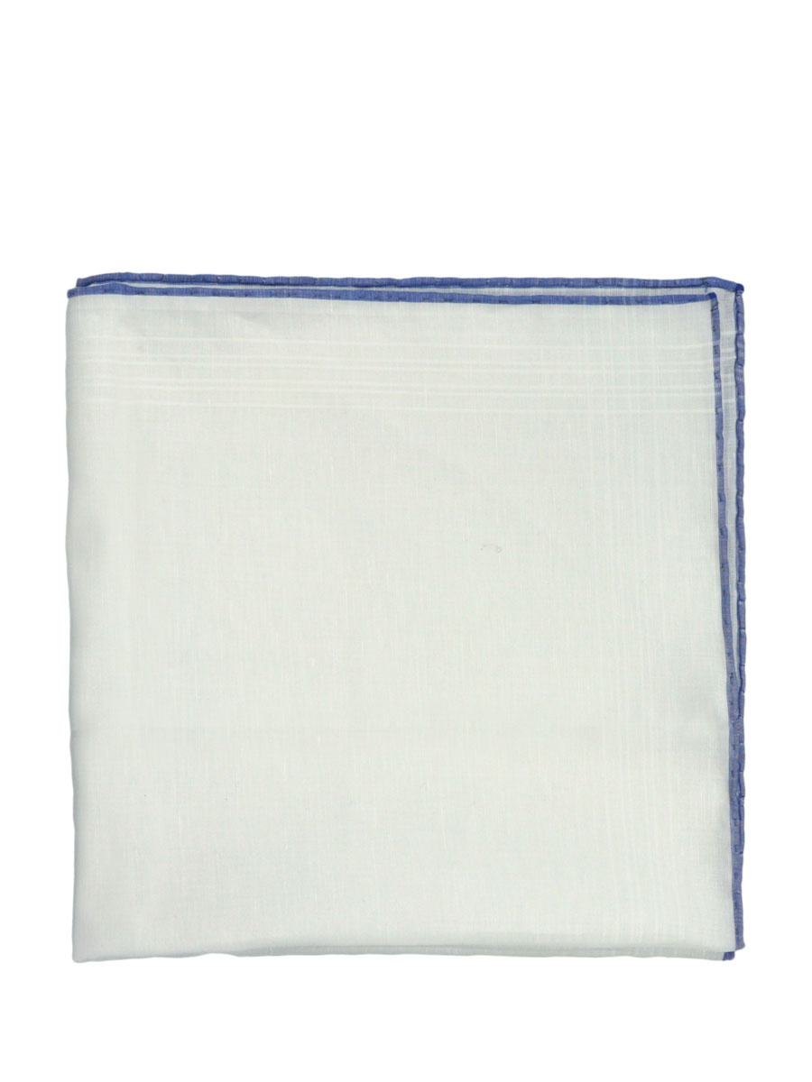 Linen Pocket Square w/ Blue Tipping