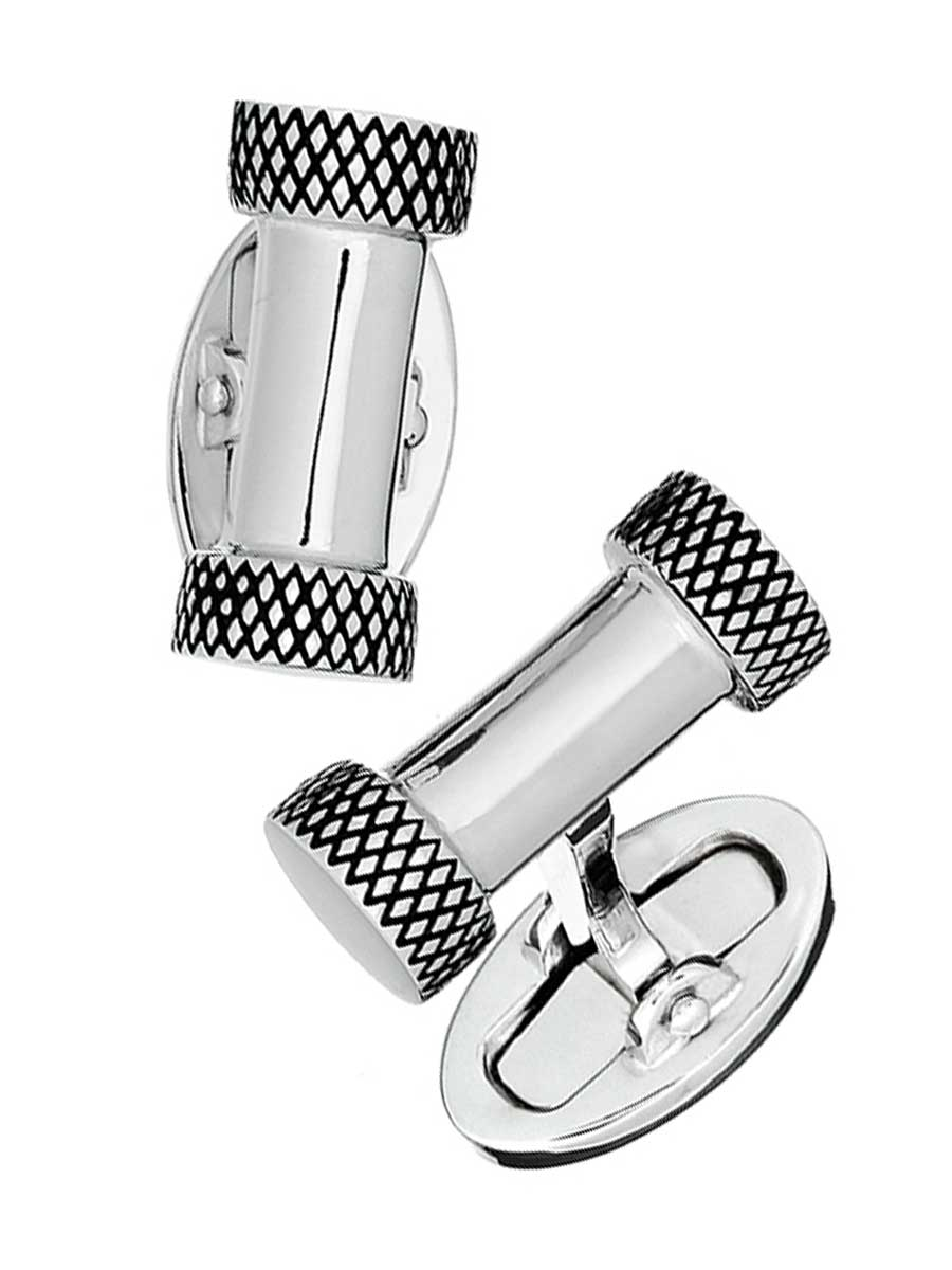 CYLINDER W/ ENGRAVED ENDS STERLING CUFFLINKS