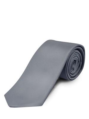 Silver Fine Twill Solid Silk Tie