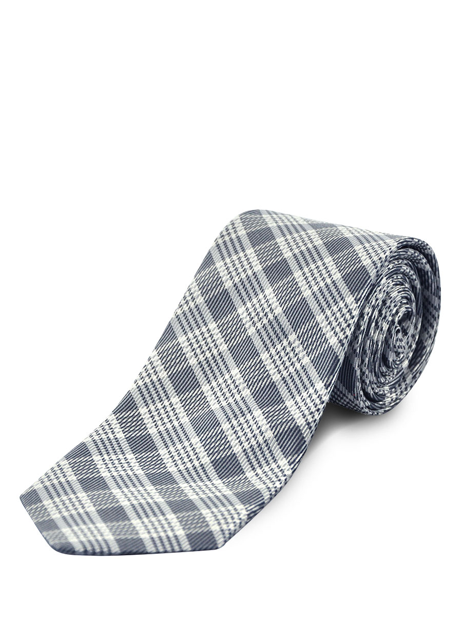 Silver Graphic Plaid Silk/Wool Tie