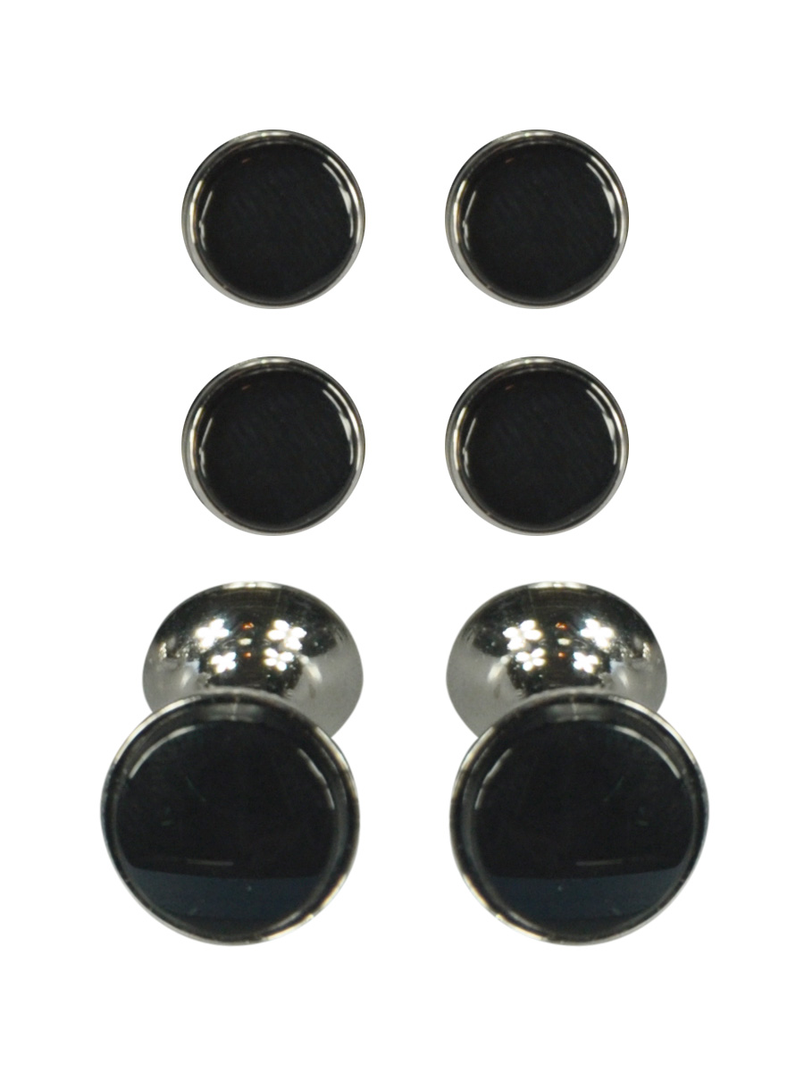Onyx and Silver Dress Stud and Cufflink Set