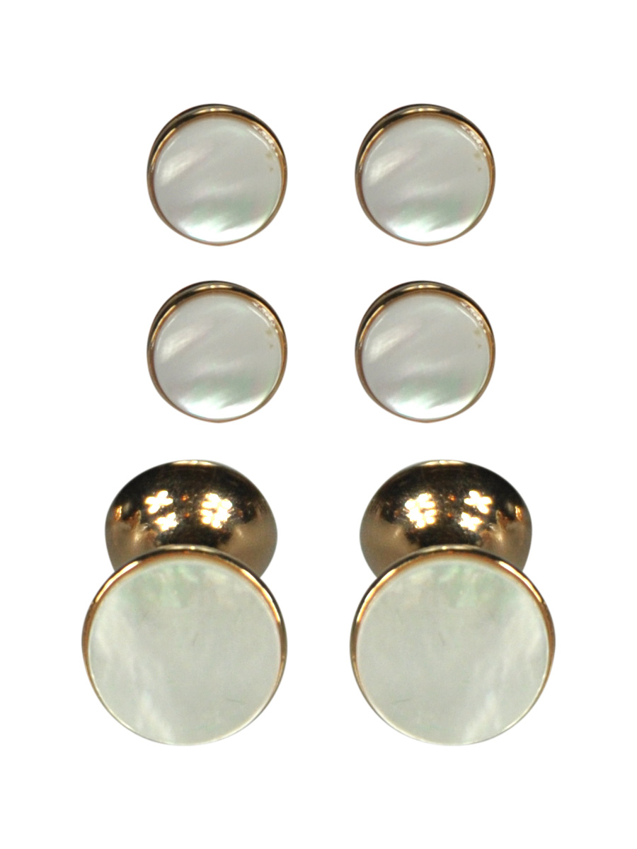 Round Mother of Pearl In Rose Gold Dress Stud and Cufflinks