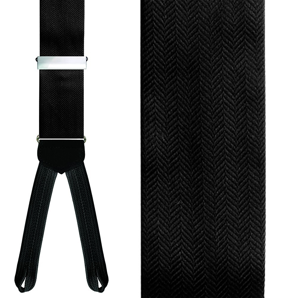 Black Herringbone Suspenders