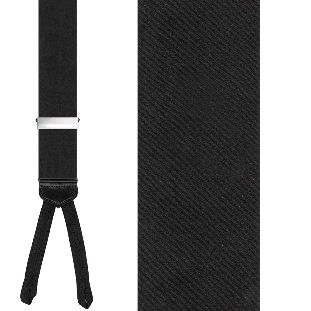 Black Solid Suspenders