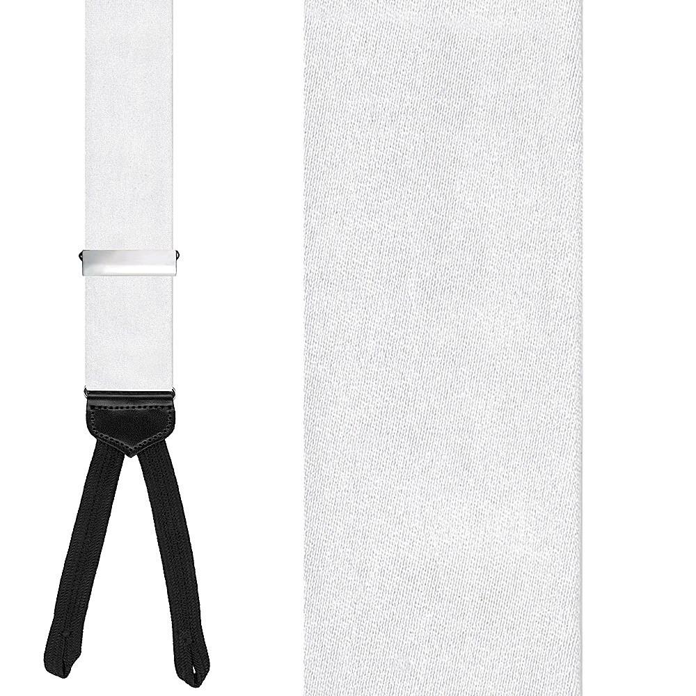 White Solid Suspenders