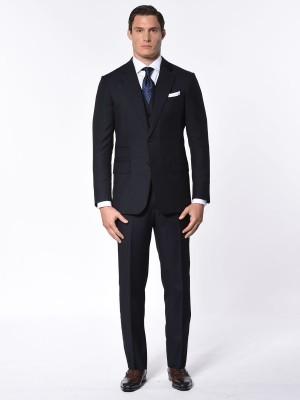Navy Herringbone Classic Bespoke Suit