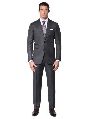 MEDIUM GREY PICK & PICK CLASSIC 2-BUTTON SUIT
