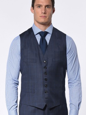 Marine Blue Glen Plaid Windowpane Classic Bespoke Suit