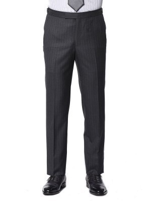 CHARCOAL TWILL STRIPE CLASSIC 2-BUTTON SUIT