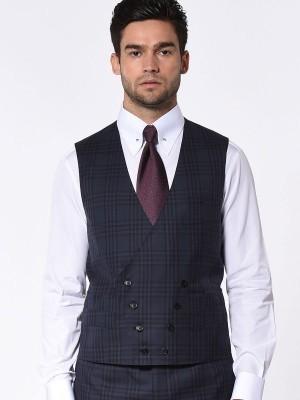 Navy Macro Plaid Signature Bespoke Suit