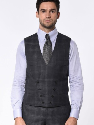 CHARCOAL COMPLEX WINDOWPANE SIGNATURE 2-BUTTON SUIT