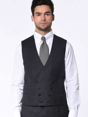 CHARCOAL GUN CHECK SIGNATURE 2-BUTTON SUIT