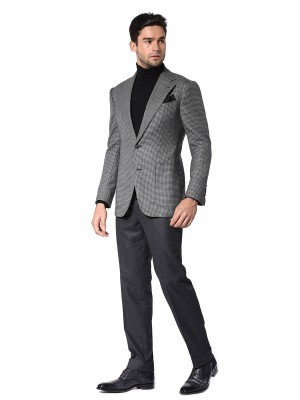 GREY HOUNDSTOOTH SIGNATURE 2-BUTTON SPORT COAT