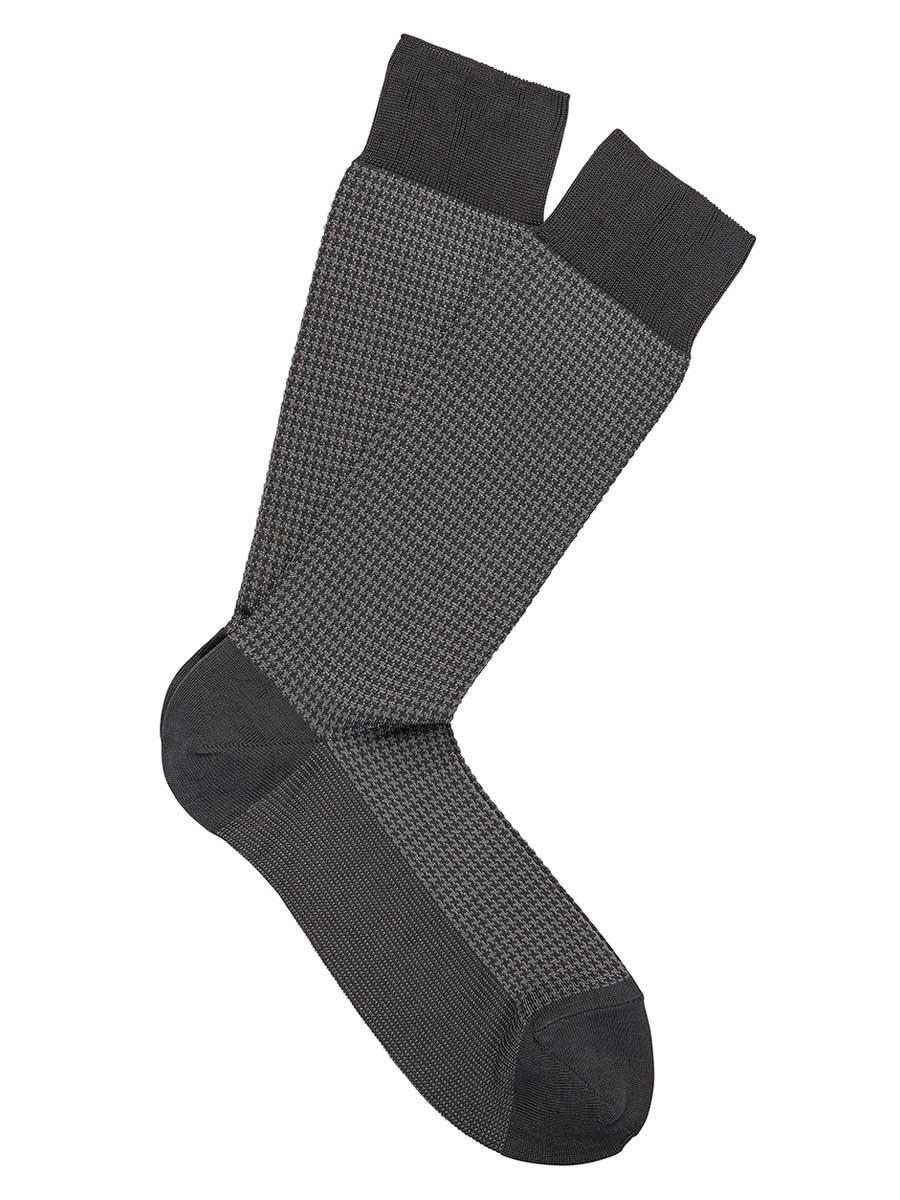 Asphalt Pima Cotton Lisle Jacquard Houndstooth Socks