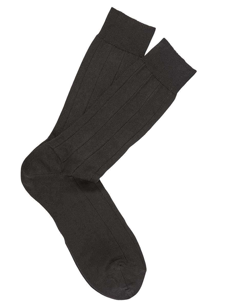 BLACK PIMA COTTON DRESS SOCKS