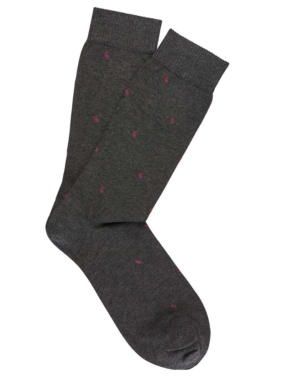 Charcoal Pima Cotton Mini Paisley Socks