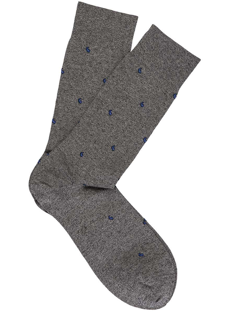 Flannel Grey Pima Cotton Mini Paisley Socks
