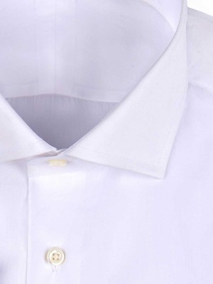 White Poplin Spread Collar Shirt