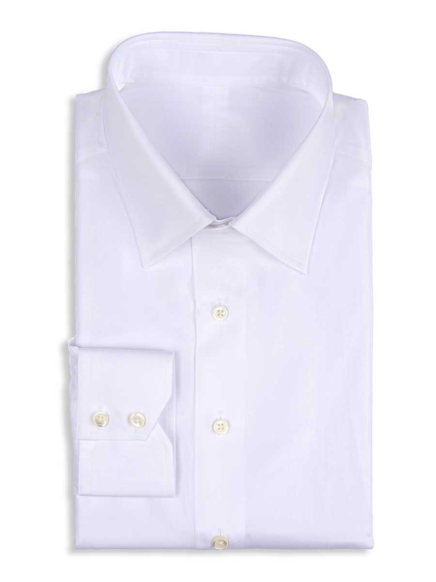 White Stretch Poplin Traditional Collar Shirt