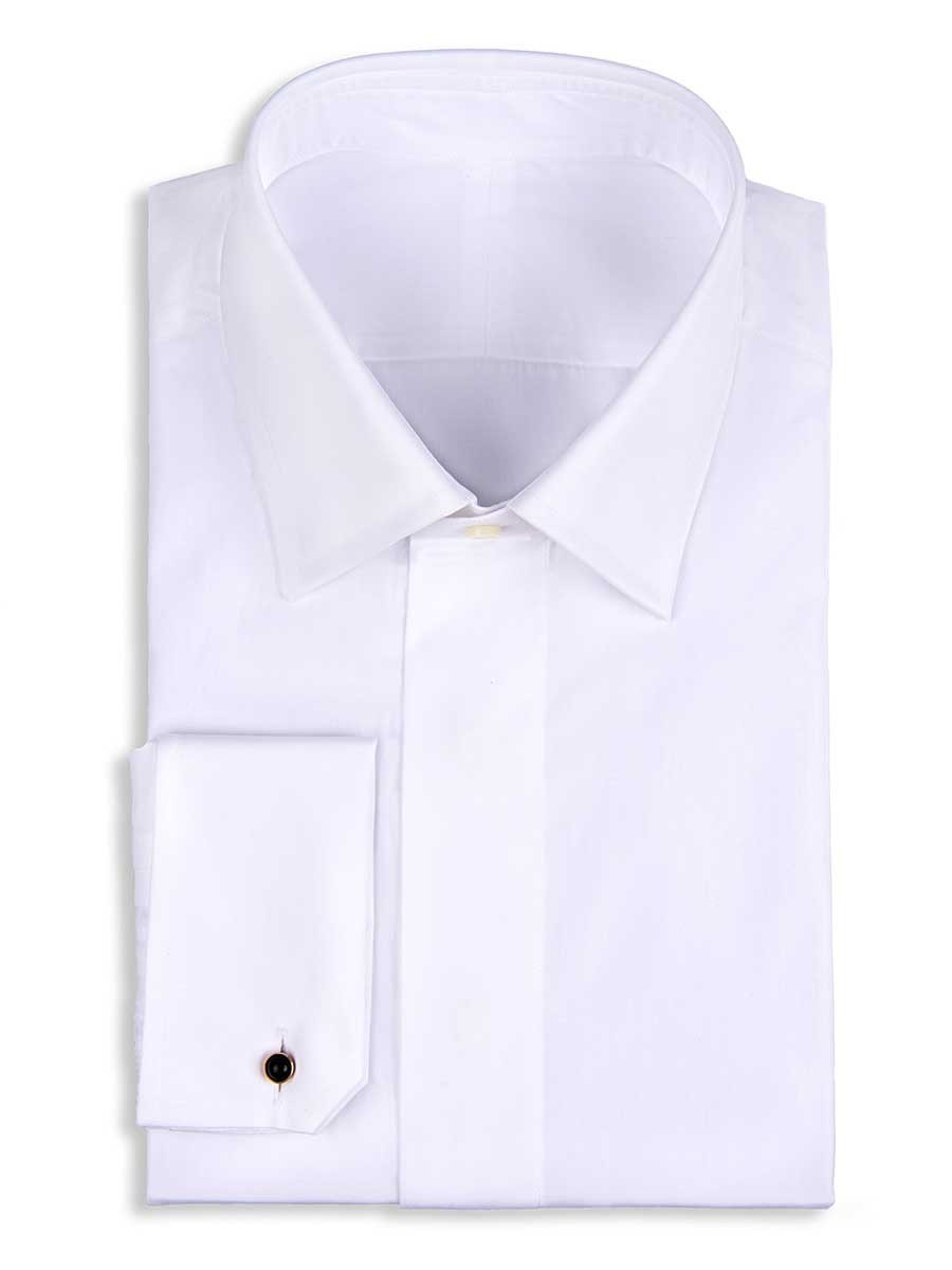 White Poplin Fly Front Traditional Collar Formal Shirt