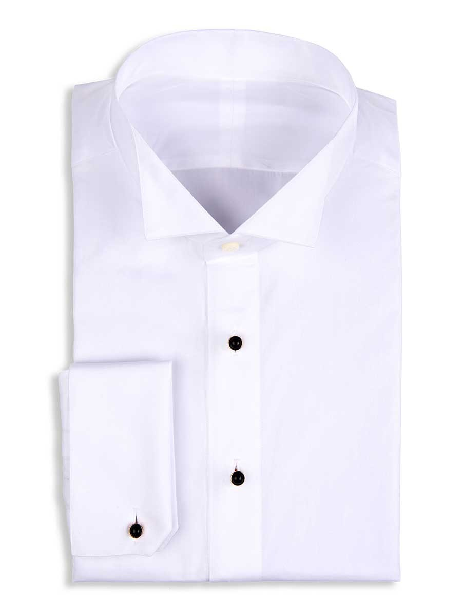 White Poplin Stud Front Tuxedo Collar Formal Shirt
