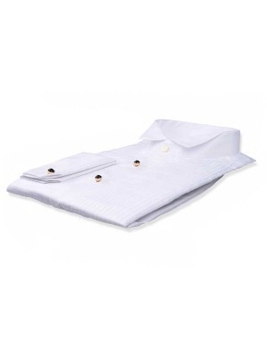 "White Poplin 1/4"" Pleats Tuxedo Collar Formal Shirt"